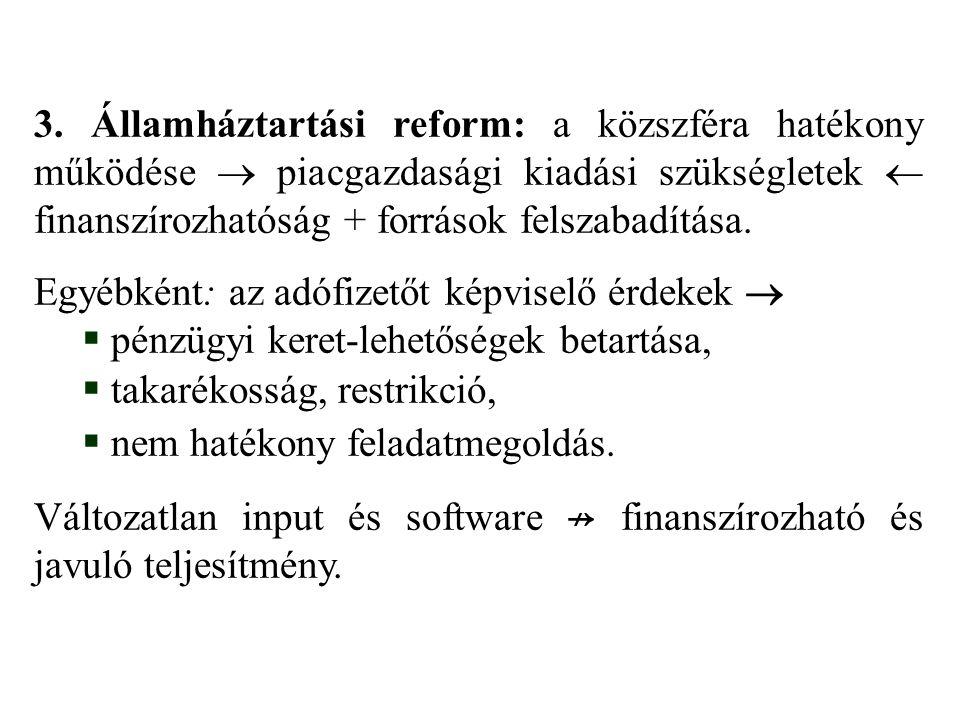 3. Államháztartási reform: a közszféra hatékony működése  piacgazdasági kiadási szükségletek  finanszírozhatóság + források felszabadítása. Egyébkén