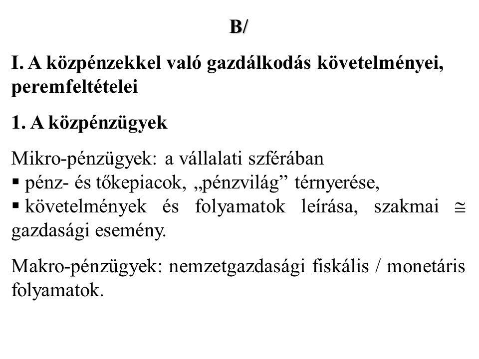 B/ I. A közpénzekkel való gazdálkodás követelményei, peremfeltételei 1.