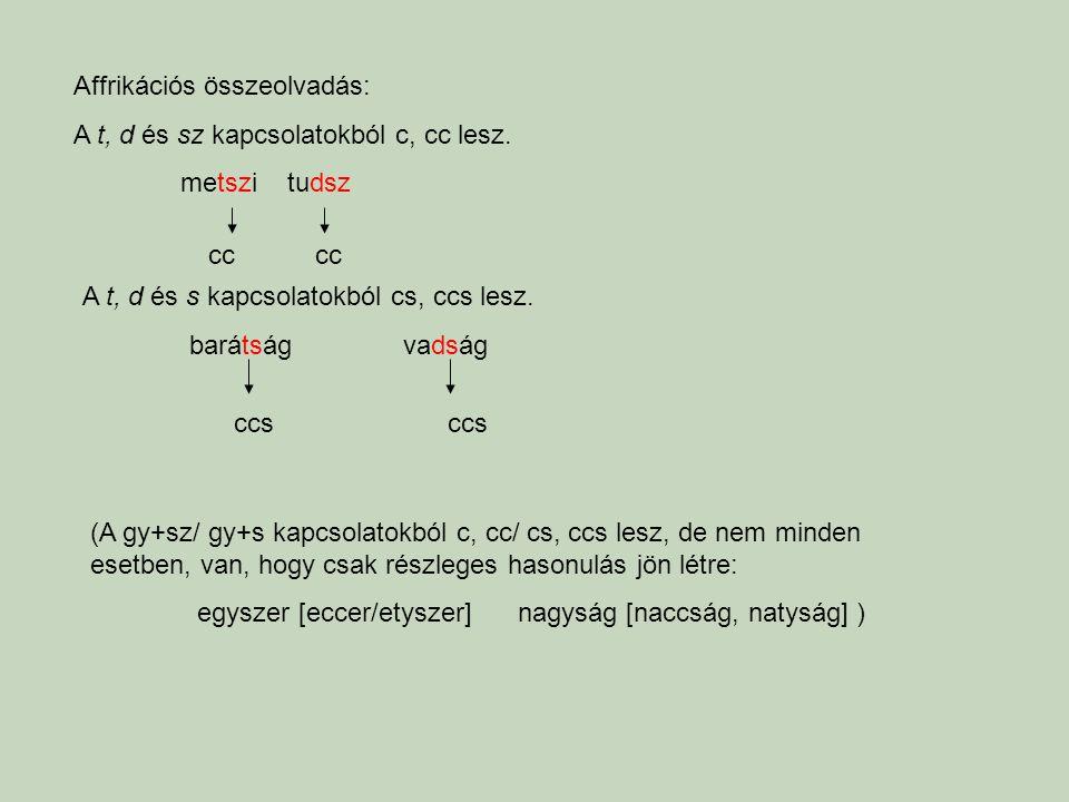 Affrikációs összeolvadás: A t, d és sz kapcsolatokból c, cc lesz. metszitudsz A t, d és s kapcsolatokból cs, ccs lesz. barátságvadság cc ccs (A gy+sz/