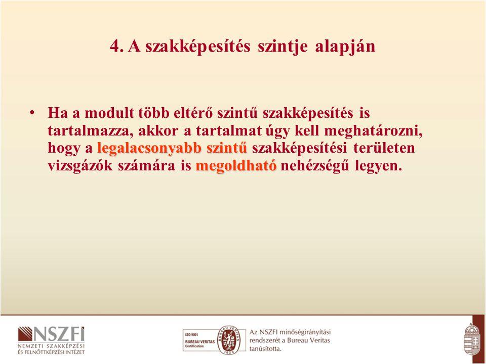 4. A szakképesítés szintje alapján legalacsonyabb szintű megoldható Ha a modult több eltérő szintű szakképesítés is tartalmazza, akkor a tartalmat úgy