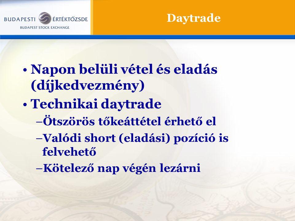 Daytrade Napon belüli vétel és eladás (díjkedvezmény) Technikai daytrade –Ötszörös tőkeáttétel érhető el –Valódi short (eladási) pozíció is felvehető