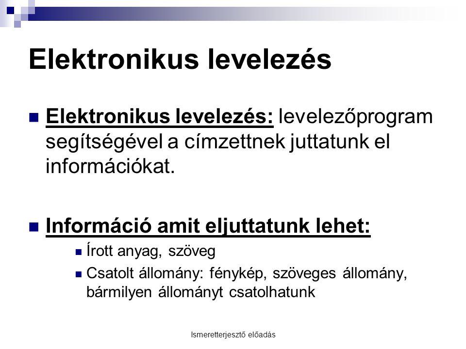 Ismeretterjesztő előadás Elektronikus levelezés Elektronikus levelezés: levelezőprogram segítségével a címzettnek juttatunk el információkat.