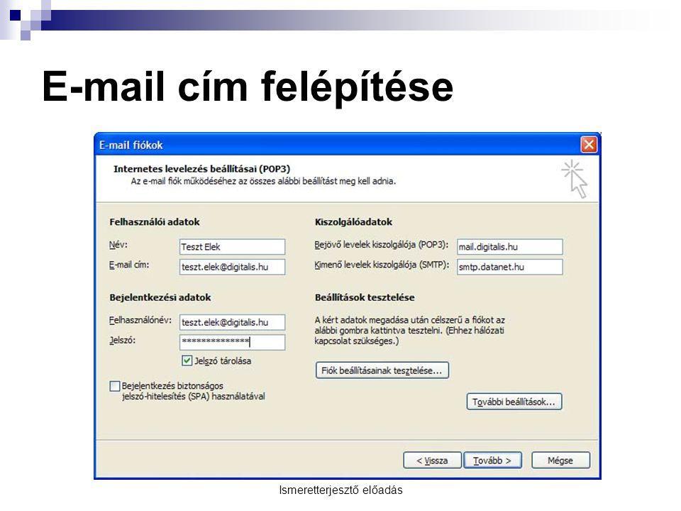Ismeretterjesztő előadás E-mail cím felépítése