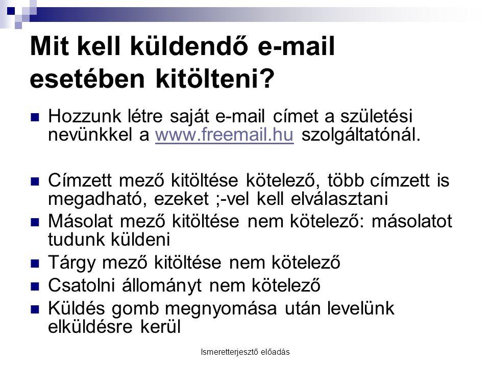 Ismeretterjesztő előadás Mit kell küldendő e-mail esetében kitölteni.