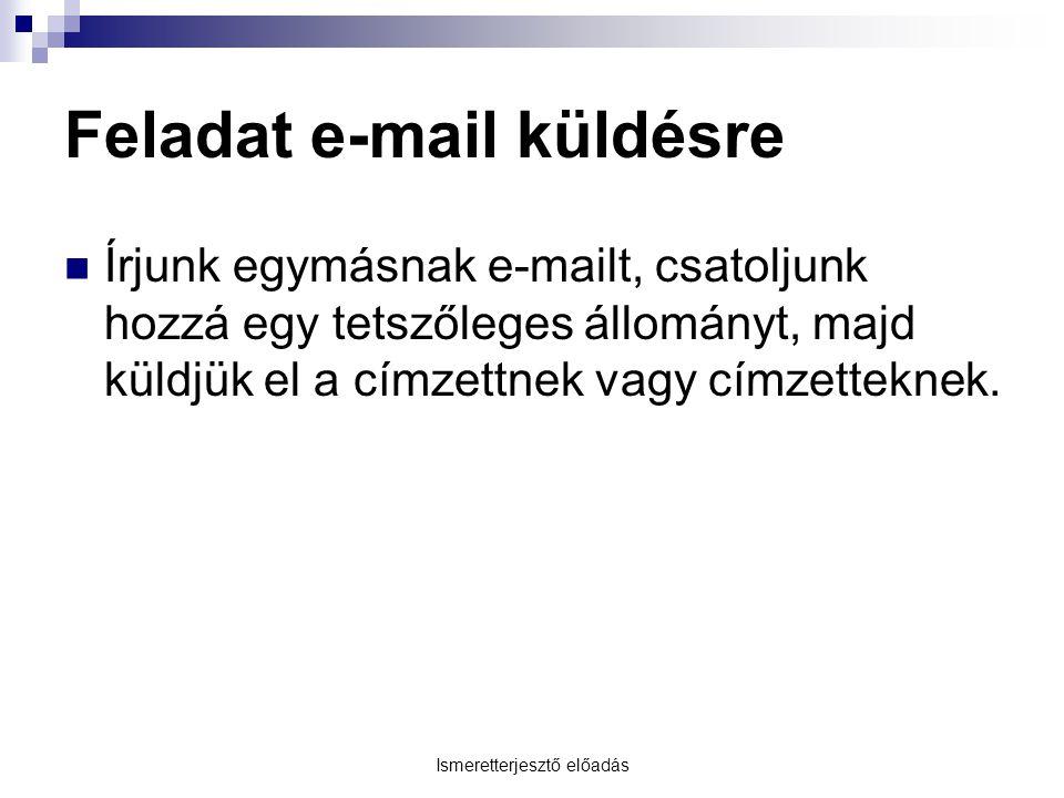 Ismeretterjesztő előadás Feladat e-mail küldésre Írjunk egymásnak e-mailt, csatoljunk hozzá egy tetszőleges állományt, majd küldjük el a címzettnek vagy címzetteknek.