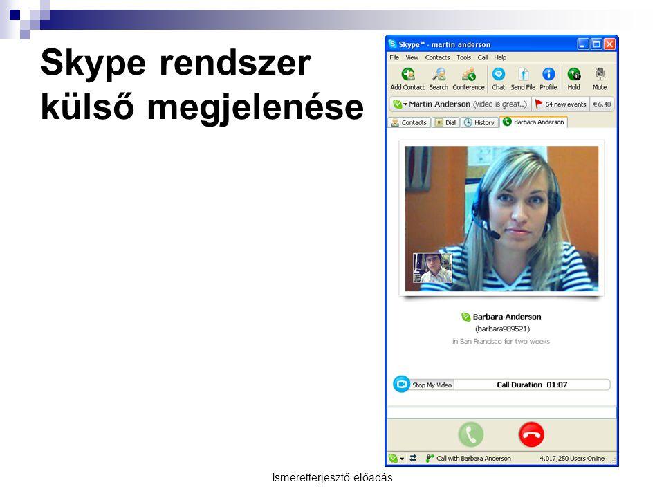 Ismeretterjesztő előadás Skype rendszer külső megjelenése