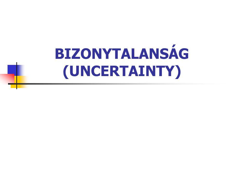 BIZONYTALANSÁG 22 MYCIN-MODELL bizonyossági tényező (certainty factor) [-1, +1] szabály feltételi részének bizonyossága: c(p 1 ...