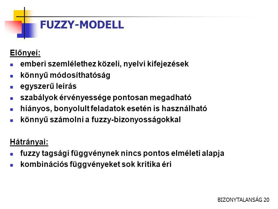 BIZONYTALANSÁG 20 FUZZY-MODELL Előnyei: emberi szemlélethez közeli, nyelvi kifejezések könnyű módosíthatóság egyszerű leírás szabályok érvényessége po