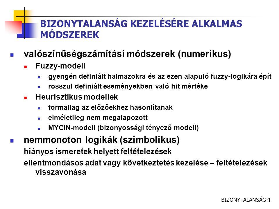 BIZONYTALANSÁG 4 BIZONYTALANSÁG KEZELÉSÉRE ALKALMAS MÓDSZEREK valószínűségszámítási módszerek (numerikus) Fuzzy-modell gyengén definiált halmazokra és