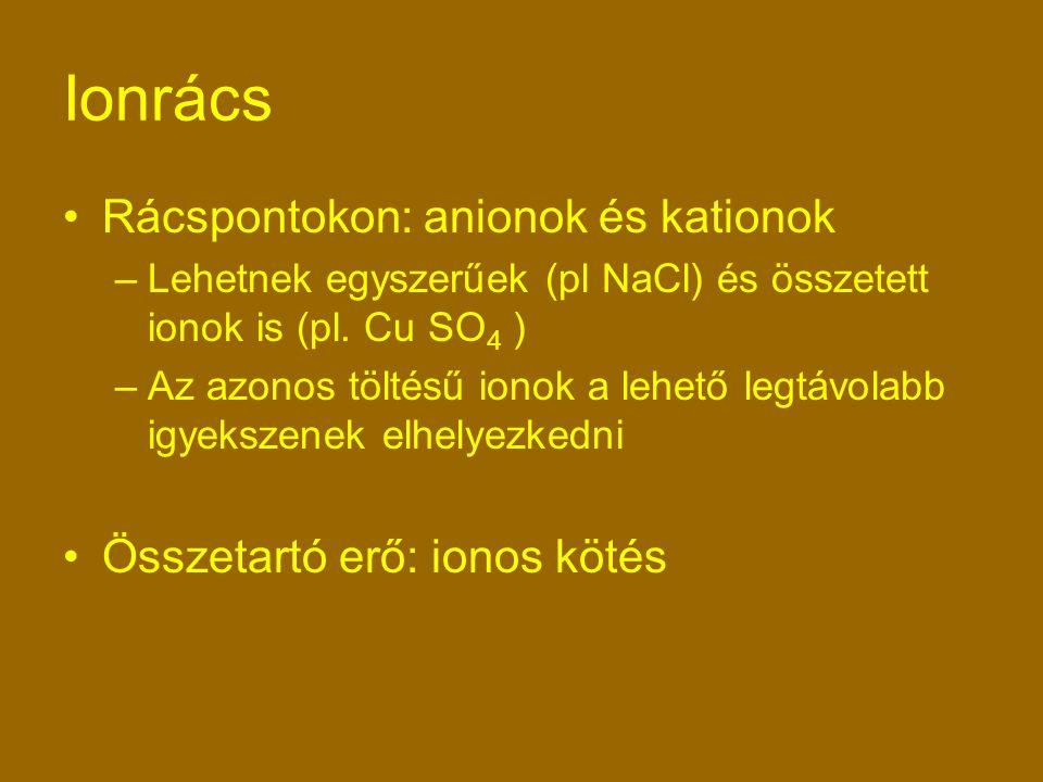 Rácspontokon: anionok és kationok –Lehetnek egyszerűek (pl NaCl) és összetett ionok is (pl.