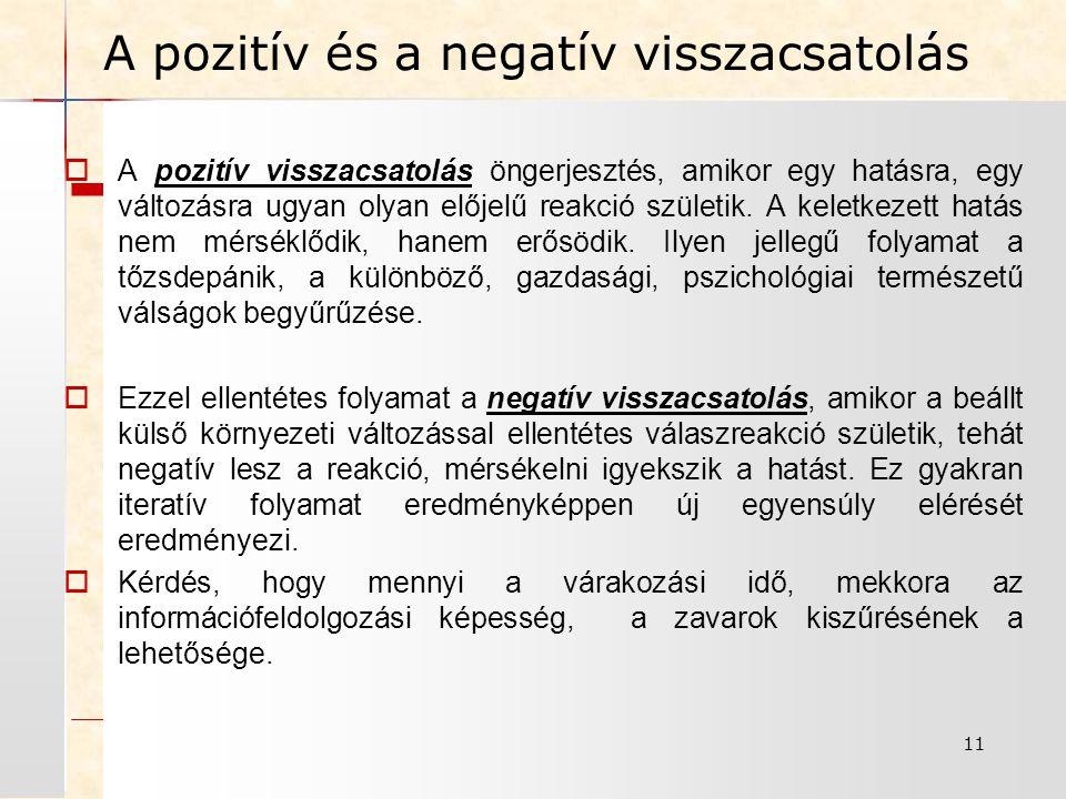 11 A pozitív és a negatív visszacsatolás  A pozitív visszacsatolás öngerjesztés, amikor egy hatásra, egy változásra ugyan olyan előjelű reakció születik.