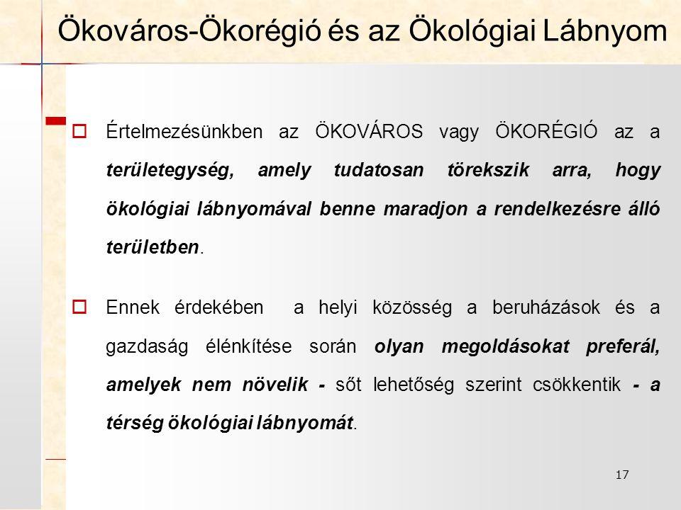 17 Ökováros-Ökorégió és az Ökológiai Lábnyom  Értelmezésünkben az ÖKOVÁROS vagy ÖKORÉGIÓ az a területegység, amely tudatosan törekszik arra, hogy ökológiai lábnyomával benne maradjon a rendelkezésre álló területben.