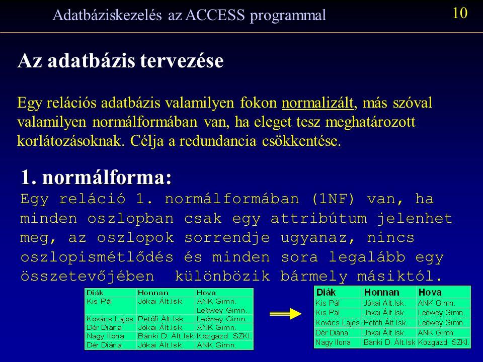 Adatbáziskezelés az ACCESS programmal 10 Az adatbázis tervezése Egy relációs adatbázis valamilyen fokon normalizált, más szóval valamilyen normálformában van, ha eleget tesz meghatározott korlátozásoknak.