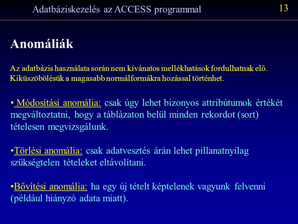 Adatbáziskezelés az ACCESS programmal 13 Anomáliák Az adatbázis használata során nem kívánatos mellékhatások fordulhatnak elő.