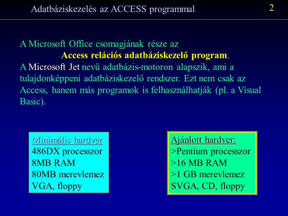 Adatbáziskezelés az ACCESS programmal 3 Az ACCESS 2002-2003 jellemző adatai Az adatbázisfile maximális mérete:2 GB (plusz a kapcsolt file-ok…) Táblajellemzők: a táblanév és mezőnév max.