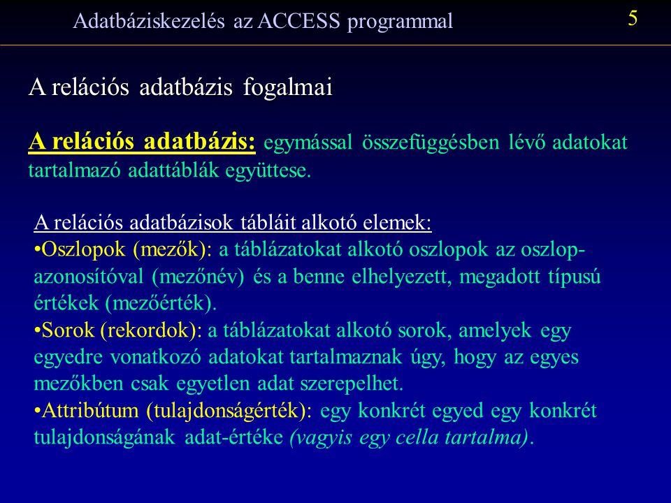Adatbáziskezelés az ACCESS programmal 5 A relációs adatbázis fogalmai A relációs adatbázis: egymással összefüggésben lévő adatokat tartalmazó adattáblák együttese.
