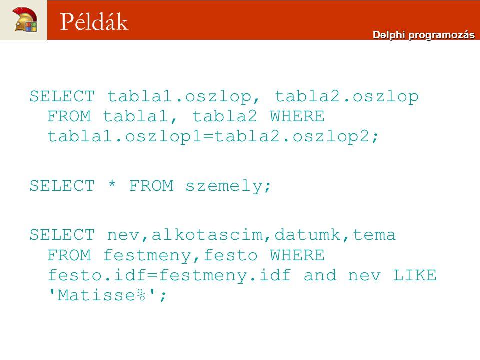 SELECT tabla1.oszlop, tabla2.oszlop FROM tabla1, tabla2 WHERE tabla1.oszlop1=tabla2.oszlop2; SELECT * FROM szemely; SELECT nev,alkotascim,datumk,tema FROM festmeny,festo WHERE festo.idf=festmeny.idf and nev LIKE Matisse% ; Delphi programozás Példák