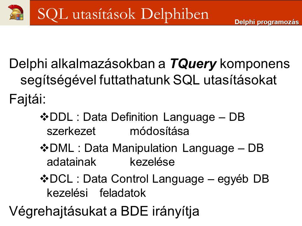 Delphi alkalmazásokban a TQuery komponens segítségével futtathatunk SQL utasításokat Fajtái:  DDL : Data Definition Language – DB szerkezet módosítása  DML : Data Manipulation Language – DB adatainak kezelése  DCL : Data Control Language – egyéb DB kezelési feladatok Végrehajtásukat a BDE irányítja Delphi programozás SQL utasítások Delphiben