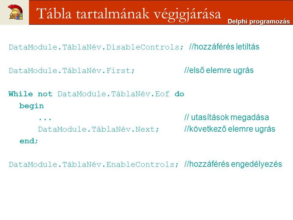 DataModule.TáblaNév.DisableControls; //hozzáférés letiltás DataModule.TáblaNév.First; //első elemre ugrás While not DataModule.TáblaNév.Eof do begin...