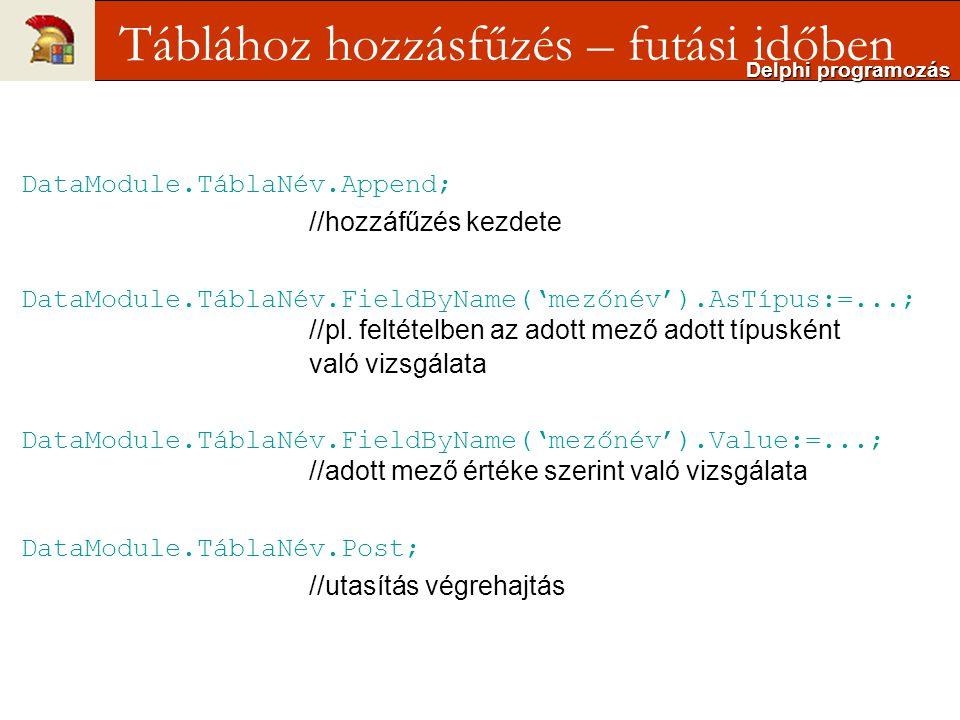 DataModule.TáblaNév.Append; //hozzáfűzés kezdete DataModule.TáblaNév.FieldByName('mezőnév').AsTípus:=...; //pl.