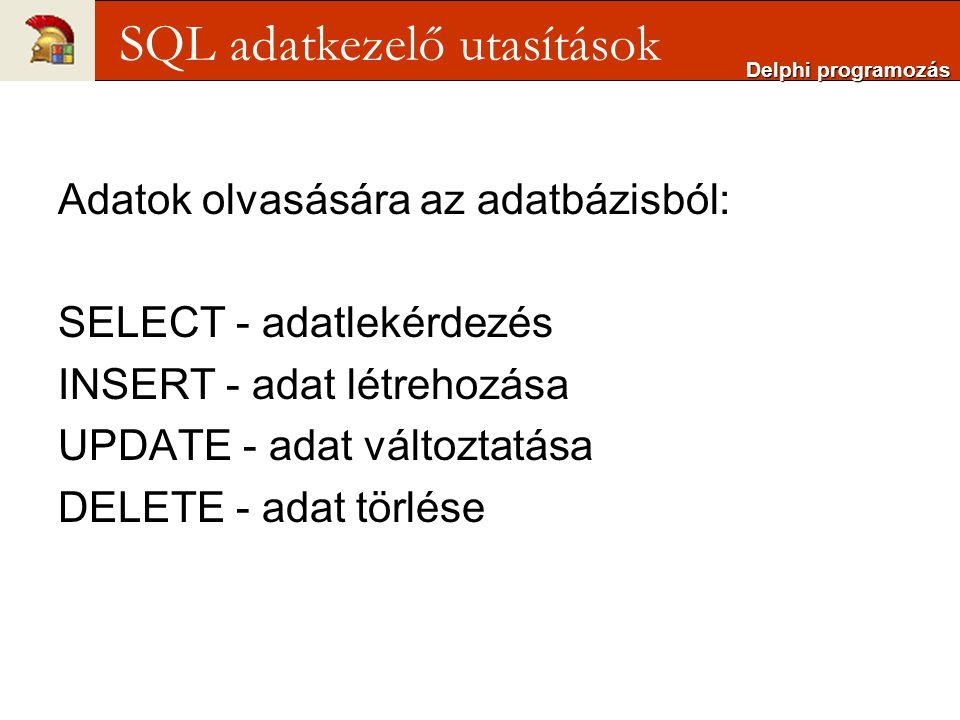 Adatok olvasására az adatbázisból: SELECT - adatlekérdezés INSERT - adat létrehozása UPDATE - adat változtatása DELETE - adat törlése Delphi programozás SQL adatkezelő utasítások