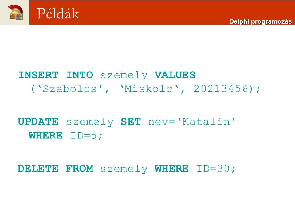 INSERT INTO szemely VALUES ('Szabolcs , 'Miskolc', 20213456); UPDATE szemely SET nev='Katalin WHERE ID=5; DELETE FROM szemely WHERE ID=30; Delphi programozás Példák