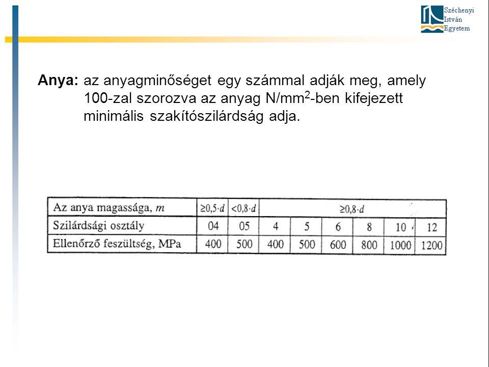 Anya: az anyagminőséget egy számmal adják meg, amely 100-zal szorozva az anyag N/mm 2 -ben kifejezett minimális szakítószilárdság adja.