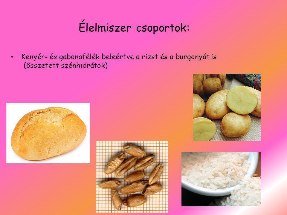 Élelmiszer csoportok: Kenyér- és gabonafélék beleértve a rizst és a burgonyát is (összetett szénhidrátok)