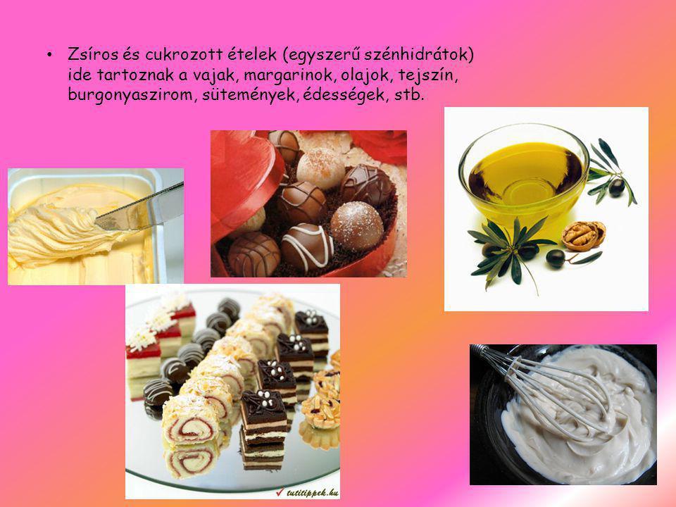 Zsíros és cukrozott ételek (egyszerű szénhidrátok) ide tartoznak a vajak, margarinok, olajok, tejszín, burgonyaszirom, sütemények, édességek, stb.