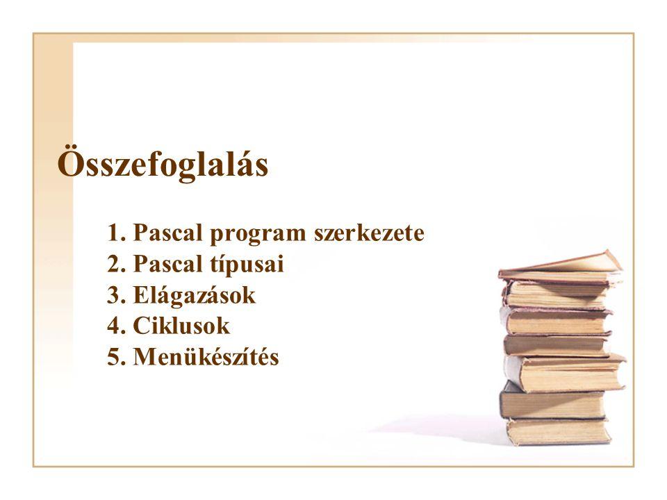 Összefoglalás 1. Pascal program szerkezete 2. Pascal típusai 3. Elágazások 4. Ciklusok 5. Menükészítés