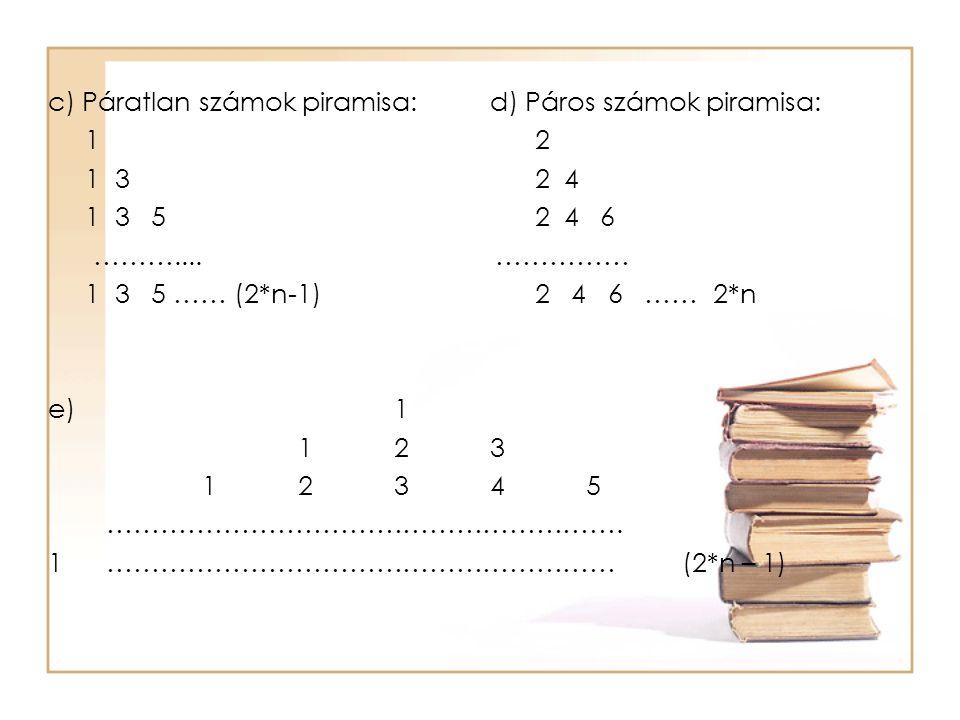 c) Páratlan számok piramisa:d) Páros számok piramisa: 1 2 1 3 2 4 1 3 5 2 4 6 ……….... …………… 1 3 5 …… (2*n-1) 2 4 6 …… 2*n e)1 123 12345 ……………………………………