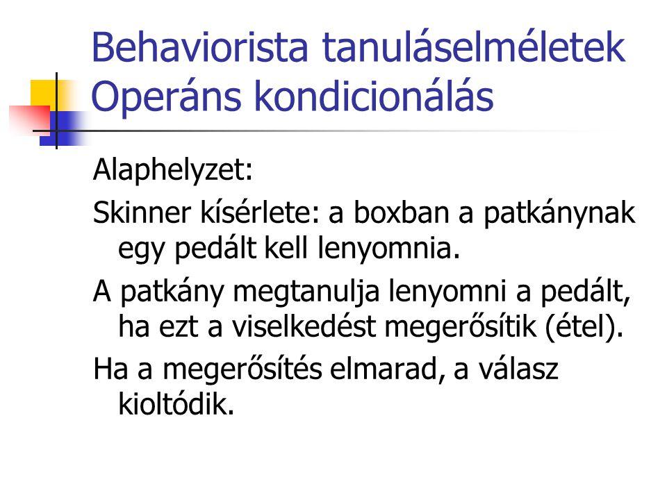 Behaviorista tanuláselméletek Operáns kondicionálás Alaphelyzet: Skinner kísérlete: a boxban a patkánynak egy pedált kell lenyomnia. A patkány megtanu