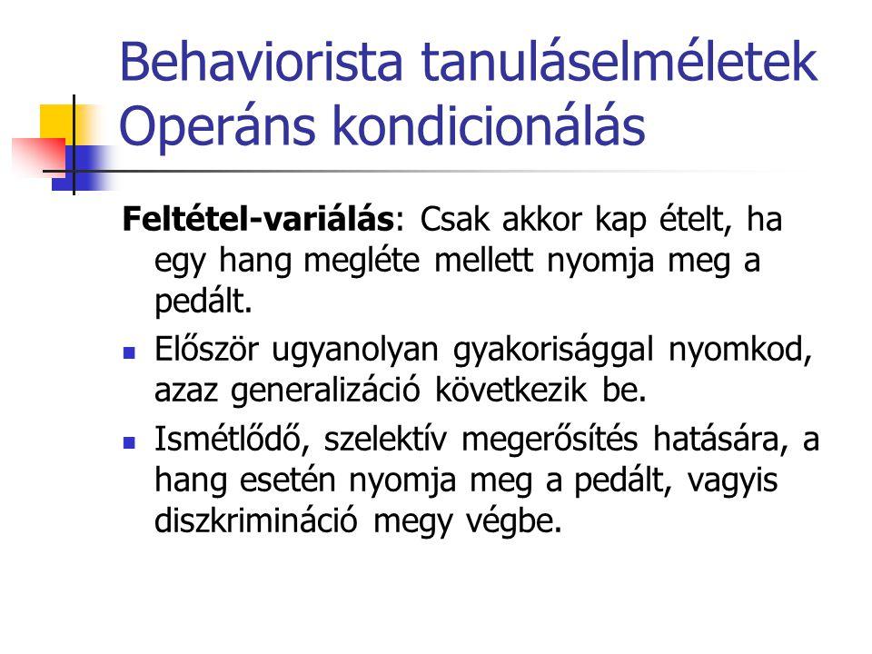 Behaviorista tanuláselméletek Operáns kondicionálás Feltétel-variálás: Csak akkor kap ételt, ha egy hang megléte mellett nyomja meg a pedált. Először