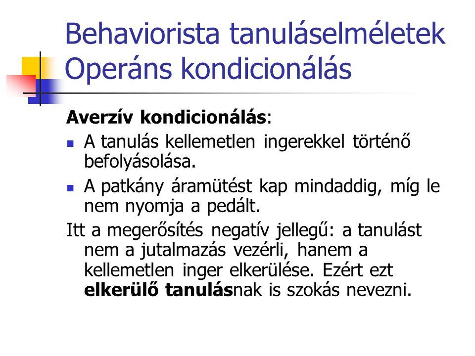 Behaviorista tanuláselméletek Operáns kondicionálás Averzív kondicionálás: A tanulás kellemetlen ingerekkel történő befolyásolása. A patkány áramütést