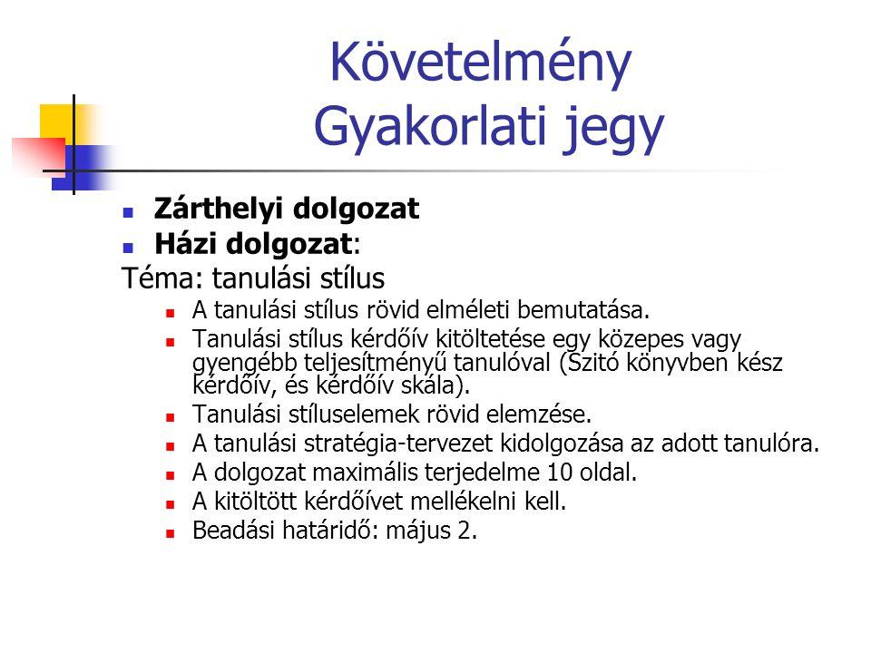 Követelmény Gyakorlati jegy Zárthelyi dolgozat Házi dolgozat: Téma: tanulási stílus A tanulási stílus rövid elméleti bemutatása. Tanulási stílus kérdő