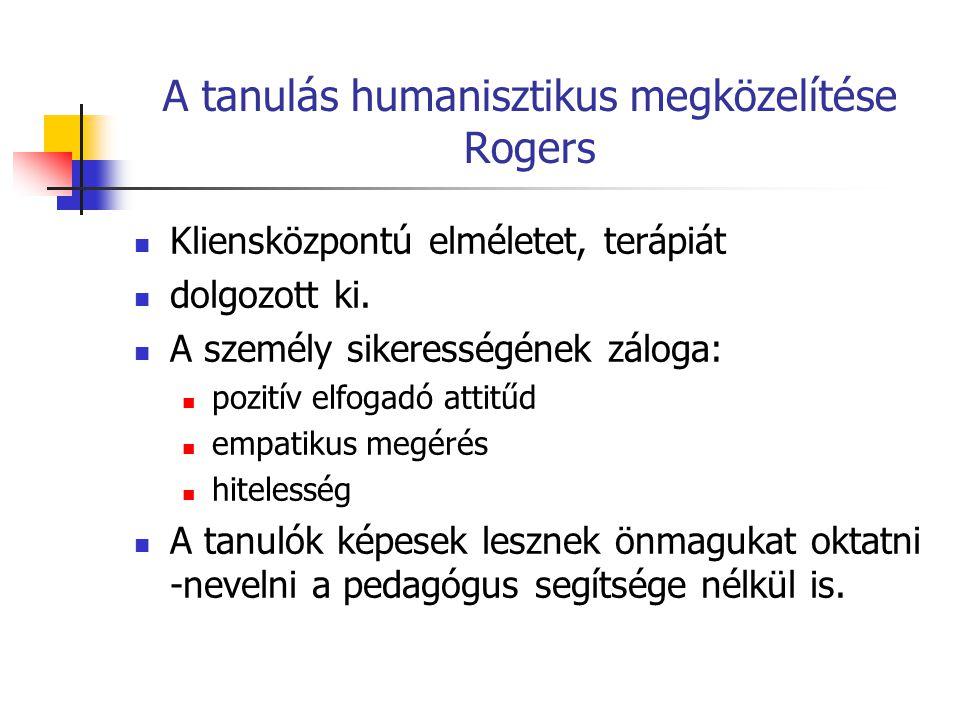 A tanulás humanisztikus megközelítése Rogers Kliensközpontú elméletet, terápiát dolgozott ki. A személy sikerességének záloga: pozitív elfogadó attitű