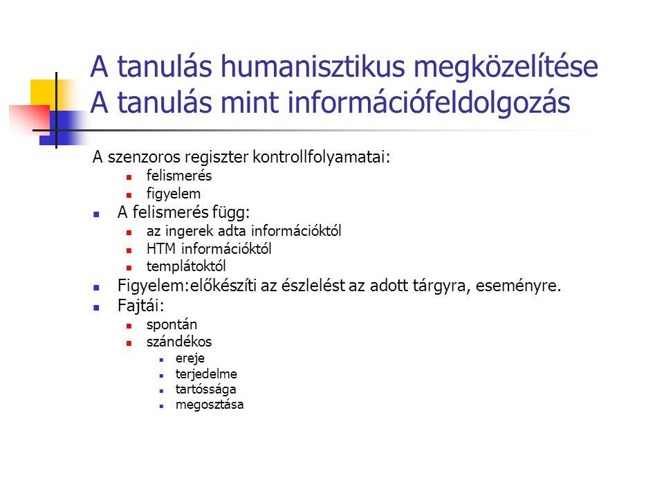 A tanulás humanisztikus megközelítése A tanulás mint információfeldolgozás A szenzoros regiszter kontrollfolyamatai: felismerés figyelem A felismerés