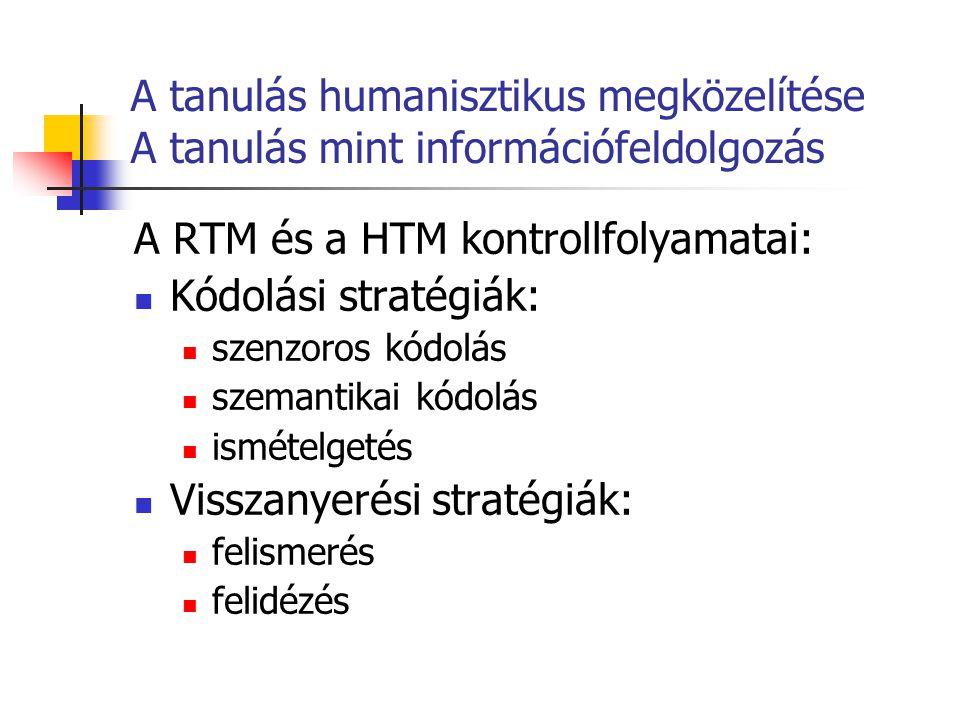 A tanulás humanisztikus megközelítése A tanulás mint információfeldolgozás A RTM és a HTM kontrollfolyamatai: Kódolási stratégiák: szenzoros kódolás s