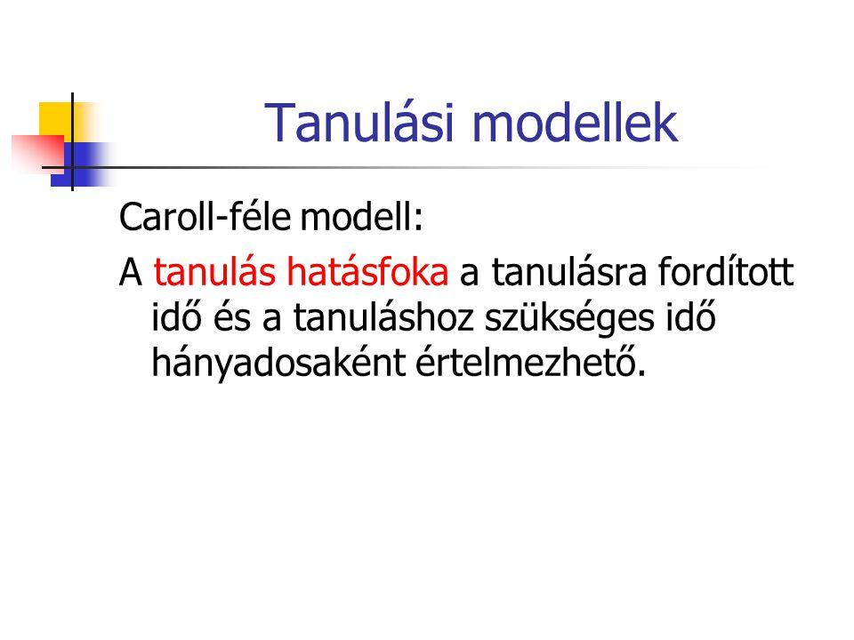 Tanulási modellek Caroll-féle modell: A tanulás hatásfoka a tanulásra fordított idő és a tanuláshoz szükséges idő hányadosaként értelmezhető.
