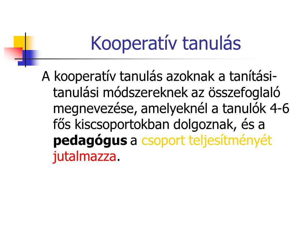 Kooperatív tanulás A kooperatív tanulás azoknak a tanítási- tanulási módszereknek az összefoglaló megnevezése, amelyeknél a tanulók 4-6 fős kiscsoport