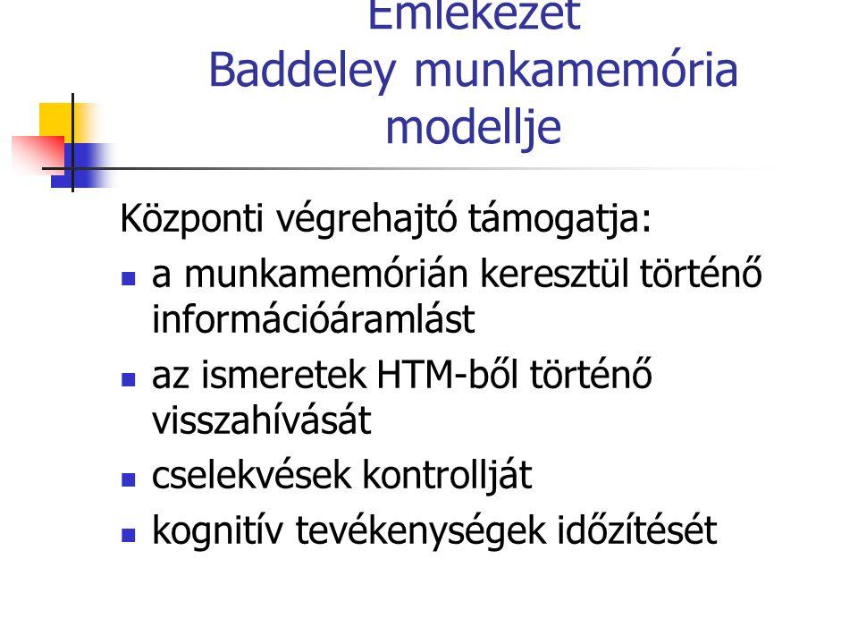 Emlékezet Baddeley munkamemória modellje Központi végrehajtó támogatja: a munkamemórián keresztül történő információáramlást az ismeretek HTM-ből tört