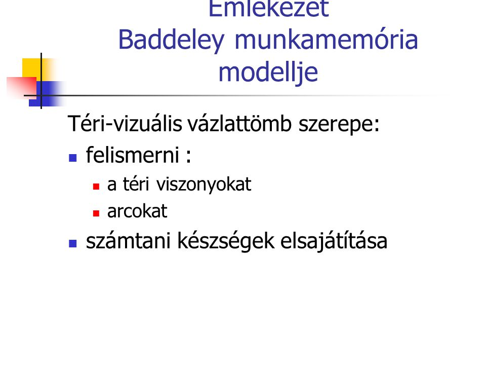 Emlékezet Baddeley munkamemória modellje Téri-vizuális vázlattömb szerepe: felismerni : a téri viszonyokat arcokat számtani készségek elsajátítása
