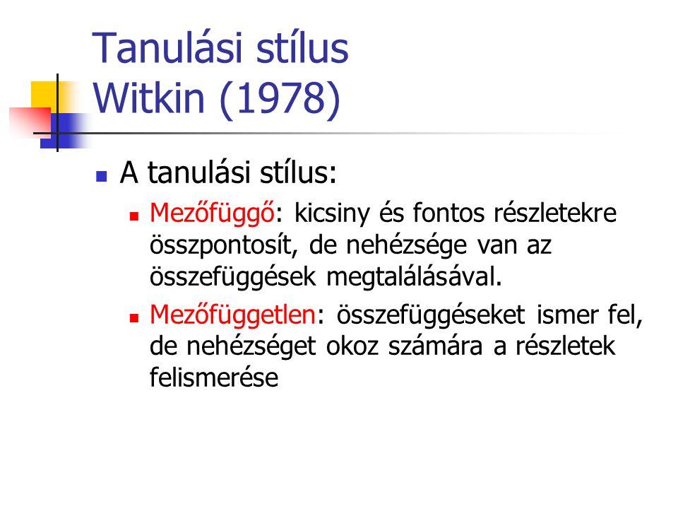 Tanulási stílus Witkin (1978) A tanulási stílus: Mezőfüggő: kicsiny és fontos részletekre összpontosít, de nehézsége van az összefüggések megtalálásáv