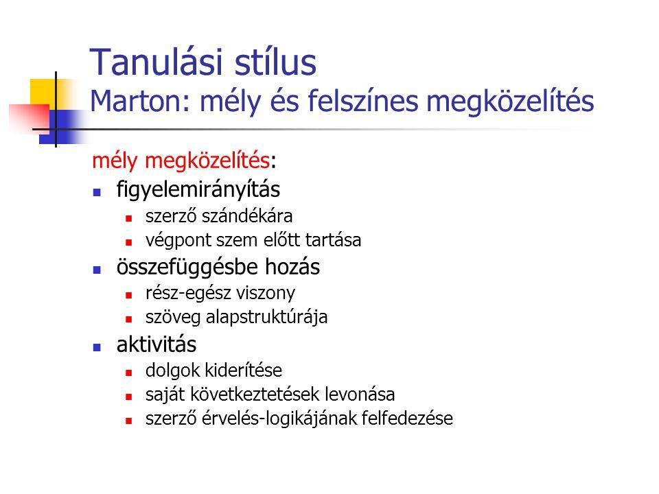 Tanulási stílus Marton: mély és felszínes megközelítés mély megközelítés: figyelemirányítás szerző szándékára végpont szem előtt tartása összefüggésbe