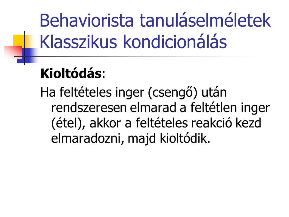 Behaviorista tanuláselméletek Klasszikus kondicionálás Inger generalizáció: Ha a kutya megtanul csengőre nyáladzani, akkor hasonló ingerekre, mint berregés, sípszó is nyáladzani fog.