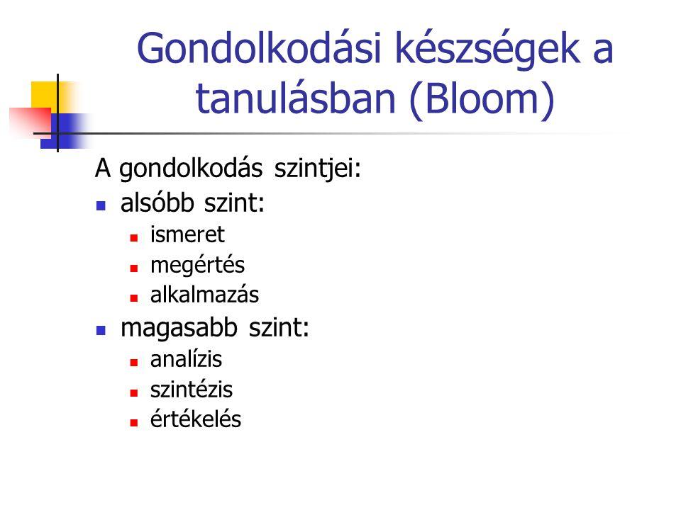 Gondolkodási készségek a tanulásban (Bloom) A gondolkodás szintjei: alsóbb szint: ismeret megértés alkalmazás magasabb szint: analízis szintézis érték