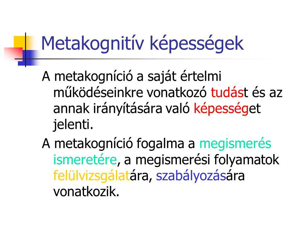 Metakognitív képességek A metakogníció a saját értelmi működéseinkre vonatkozó tudást és az annak irányítására való képességet jelenti. A metakogníció