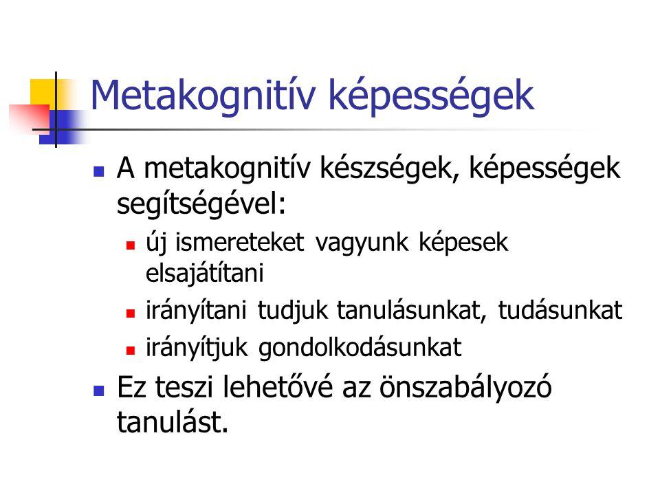 Metakognitív képességek A metakognitív készségek, képességek segítségével: új ismereteket vagyunk képesek elsajátítani irányítani tudjuk tanulásunkat,