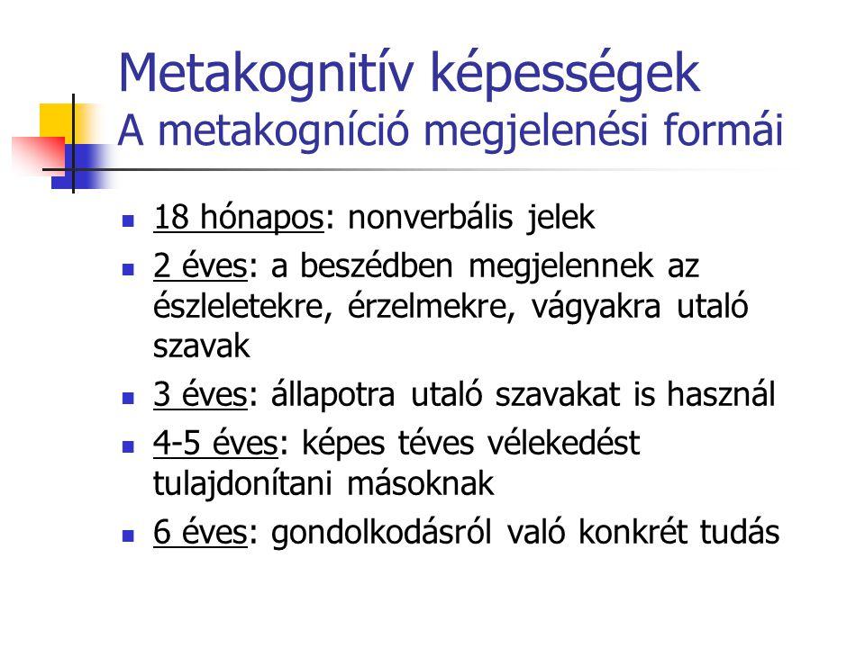 Metakognitív képességek A metakogníció megjelenési formái 18 hónapos: nonverbális jelek 2 éves: a beszédben megjelennek az észleletekre, érzelmekre, v