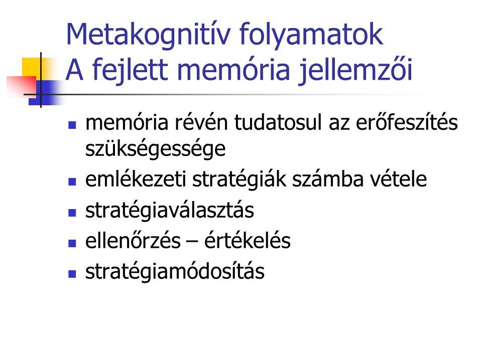 Metakognitív folyamatok A fejlett memória jellemzői memória révén tudatosul az erőfeszítés szükségessége emlékezeti stratégiák számba vétele stratégia